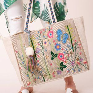 Flowers & Butterfly Embroidered Tote Bag